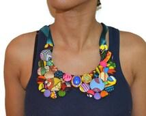 Vockie Ankara bib necklace, African Statement Necklace, Statement Necklace, Handmade Necklace, Gift Idea, Peter Pan, Statement Piece