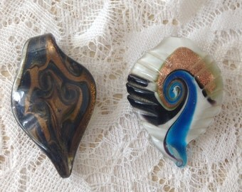 Two Italian Murano Glass Pendant,  beautiful colors two inches in length