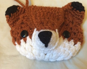 Handmade crochet Fox wristlet