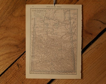"1921 - Saskatchewan Map - Antique Atlas Map 6"" x 8"""