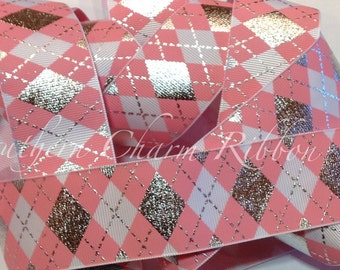 "Silver Foil and Pink Argyle 1.5"" grosgrain ribbon, sewing crafts scrapbook, by the yard, silver foil ribbon, silver and pink, argyle ribbon"