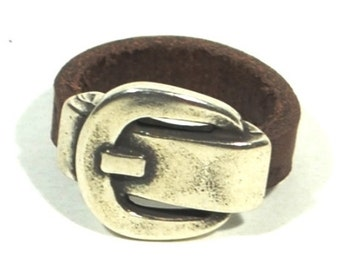 buckle leather ring, belt buckle ring, men leather ring, vintage ring, under 10 dollars, men women silver ring, gifts under 10