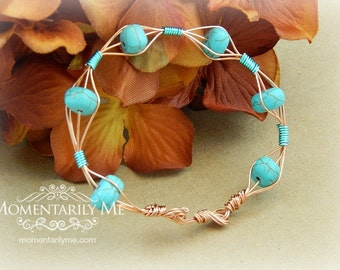 Howlite Turquois Bracelet - Copper and Teal