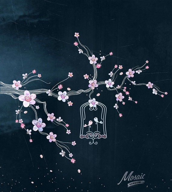Chalkboard Spring Tree and Bird Cage Clipart, Branch and Love Birds ...