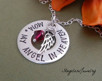 My angel in heaven, Personalized memorial necklace, Remembrance Jewelry, Dad/ Brother/ Mom memory necklace, Loss of loved one
