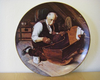 "Norman Rockwell Plate 'Grandpa's Gift' 8-1/2"" Diameter, Gold Rim, Numbered"