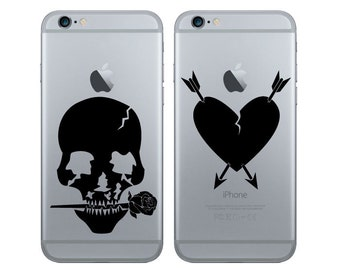 Vinyl decal sticker for smartphone, iPhone, iPad, Notebook, Rose skull, arrows, love, broken heart(2 Designs)