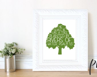 Printable Wall Art, Nursery Decor, Christian Bible Verse, Printable Quote, Digital Download Scripture, Tree, Green, Typography, Psalm 1
