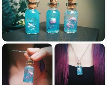 Floating Jellyfish in Jar/Vial Necklace