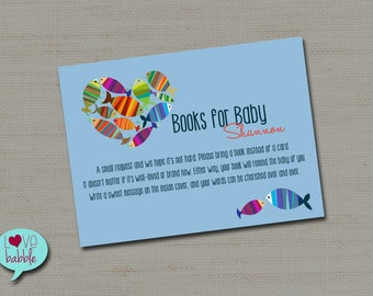 Books for Baby, Book Request, Books instead of a card inserts cards PRINTABLE DIGITAL FILE - sheet of (4) 3.5x5