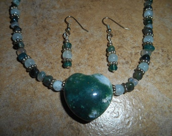 Moss Agate Gemstone Heart Necklace Set