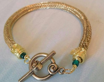 SALE Unique Wareable Art Gold Viking Knit Bracelet