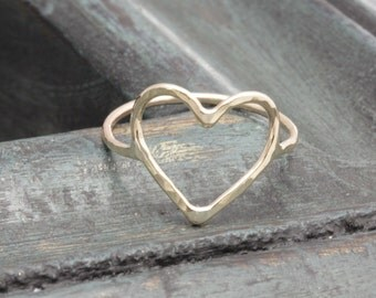 14 k gold filled lovely open heart band ring , hammered ring