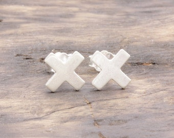 925 stering silver shiny x stud earrings , plus earrings, gift for her, bridesmaid earrings (E_00032)