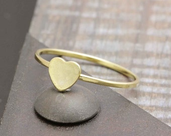 925 vermeil gold tiny flat heart simple band ring (R_00011)