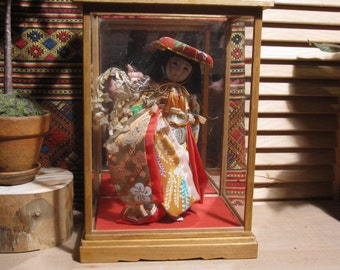 Vintage Japanese Girl Doll with Wisteria Branch in Glass Doll Case