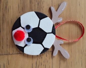 Soccer reindeer ornament