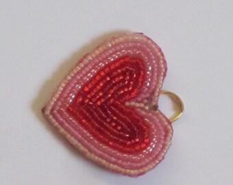 "Beaded Charm - ""Precious Heart"" (#058b)"