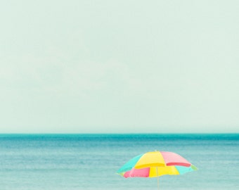 Retro Beach Photography, Colorful Umbrella, Seascape Photography, Beach Decor, Nautical Photography, Nautical Decor, Vintage Beach