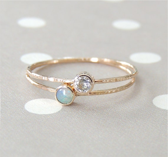 Opal Ring Set Moissanite Ring Stacking Rings Gift For By