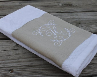 Monogrammed Kitchen Towel or Hand Towel