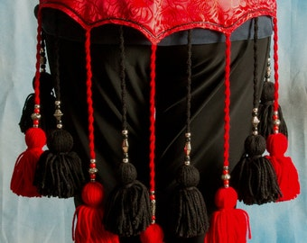 ATS Red and Black Yarn Tassel Belt