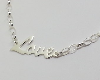 Sterling Love necklace, Love necklace, Sterling silver necklace