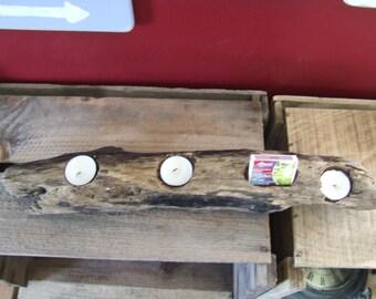 UNIQUE AQUIDNECK ISLAND Driftwood Candle Holder