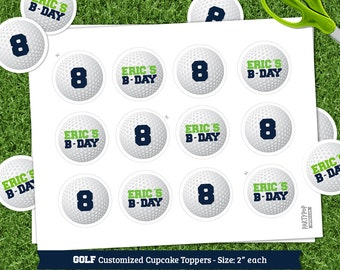 Personalized Golf theme cupcake toppers