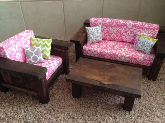 American Girl Doll Furniture 3 Pc Living Room Set Couch