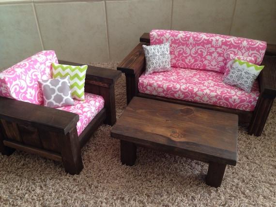 American Girl Doll Furniture. 3 pc Living room set: Couch, Chair, Coffee - American Girl Doll Furniture. 3 Pc Living Room Set: Couch