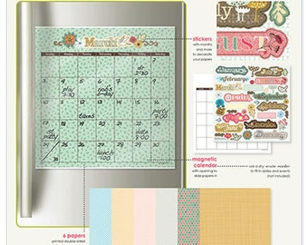 Calendar Dry Erase Magnetic Monthly Calendar Kit | Paper Scrapbooking | Customizable Calendar | Mothers Day Gift