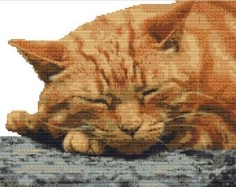 CROSS STITCH KIT- Ginger cat 35cm x 26cm