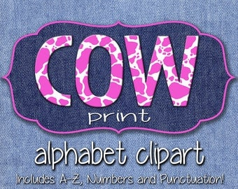 Pink Cow Print Alphabet Clipart, Pink Cow Spots Alphabet, Printable Cow Print Letters + Numbers + Punctuation, Cowgirl Alphabet