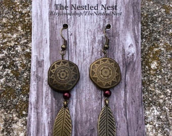 Bronze Feather Earrings With Circular Tribal Bead and Small Maroon Pearl Bead