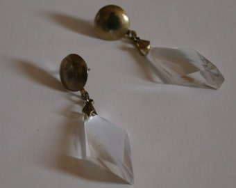 Gorgeous Vintage Brass and Faceted Acrylic earrings