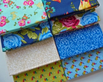 Floral Fabric Bundle, Penny Rose Fabrics Olivia,  One Yard Bundle of 8, Blue Roses Fabric, Floral Cotton Fabric, Quilt Fabric Bundle