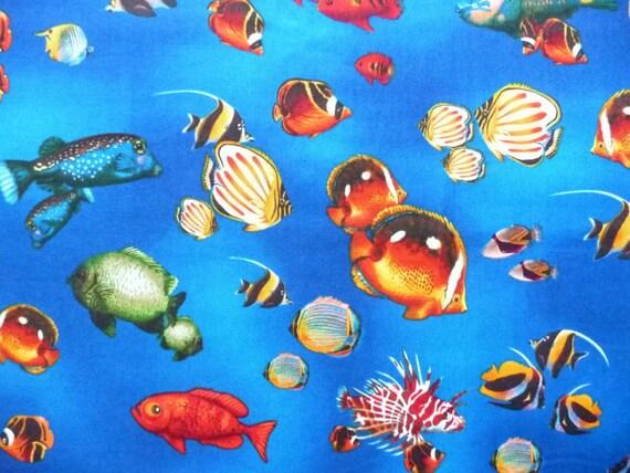 Ocean fabric rainbow cove 11844 robert by annadaisysfabrics for Rainbow fish fabric