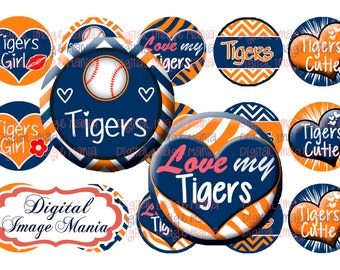 INSTANT DOWNLOAD Tigers 4x6 Digital Printable 1 Inch Circle Bottle Cap Images (107)