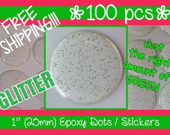 FREE SHIPPING!!!! 100 - 1 Inch (25mm) GREEN Glitter Epoxy Dots / Stickers / Adhesive Circle Bottle Cap Domes