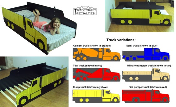 Truck twin kids bed frame handcrafted truck by tradecraftspec - Dump truck twin bed ...
