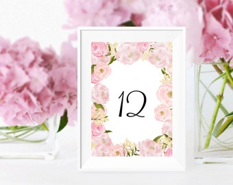 Wedding table numbers Printable | Floral pink Peony 4 x 6 and 5 x7