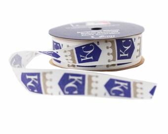 Offray MLB Kansas City Royals Fabric Ribbon, 7/8-Inch by 9-Feet, White/Blue