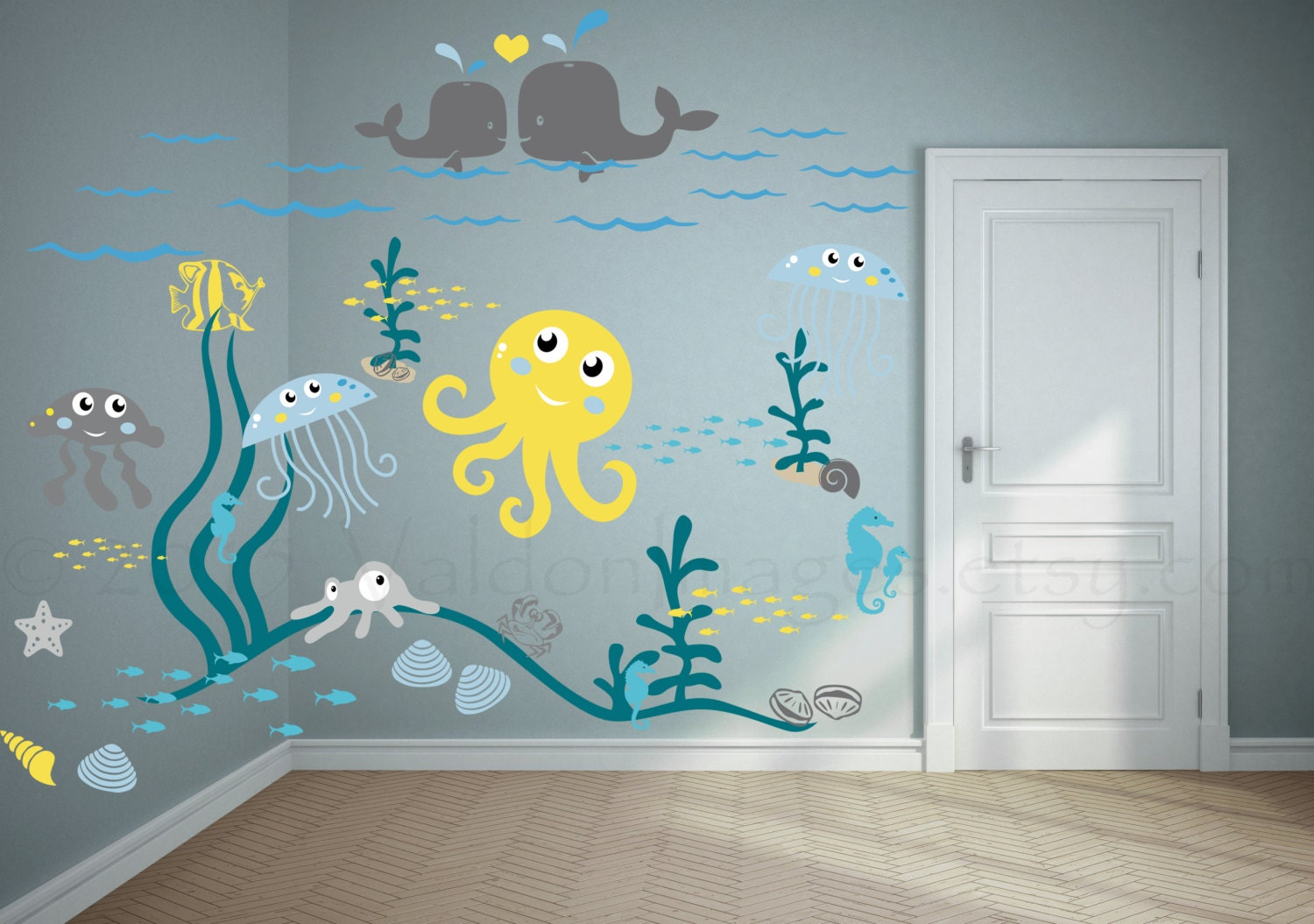 Jellyfish Adventure Wall Decal Nursery Wall Decal Kids
