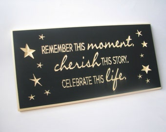 Wall Art Carved Sign Remember Cherish Celebrate
