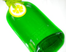 Recycled Green Gordon's Gin Bottle Server / Cutting Board with Fused Glass Lemon Slice