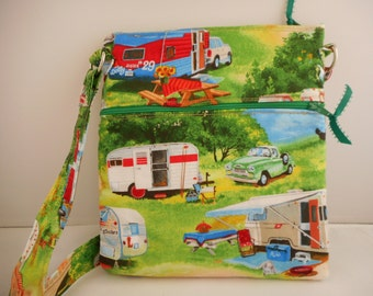 Vintage RV design Crossbody purse with cell phone pocket and two zippers.