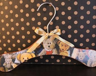 Ready to ship! Decoupaged wooden kids hanger, teddy bear