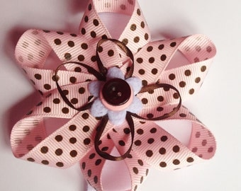 Pink and Brown Polka Dot Collar Bow for Dogs and Cats