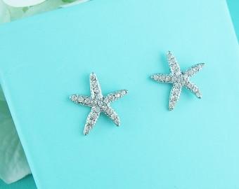 Starfish Earrings, wedding earrings, crystal earrings, crystal rhinestone earrings bridal jewelry, Nassau Starfish Earrings